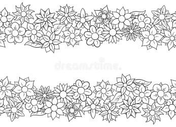 Floral Horizontal Flower Border Clipart