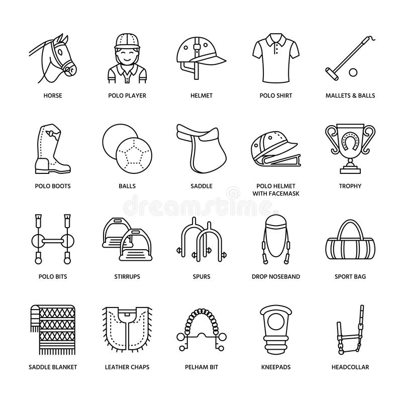 Horse Polo Flat Line Icons. Vector Illustration Of Horses