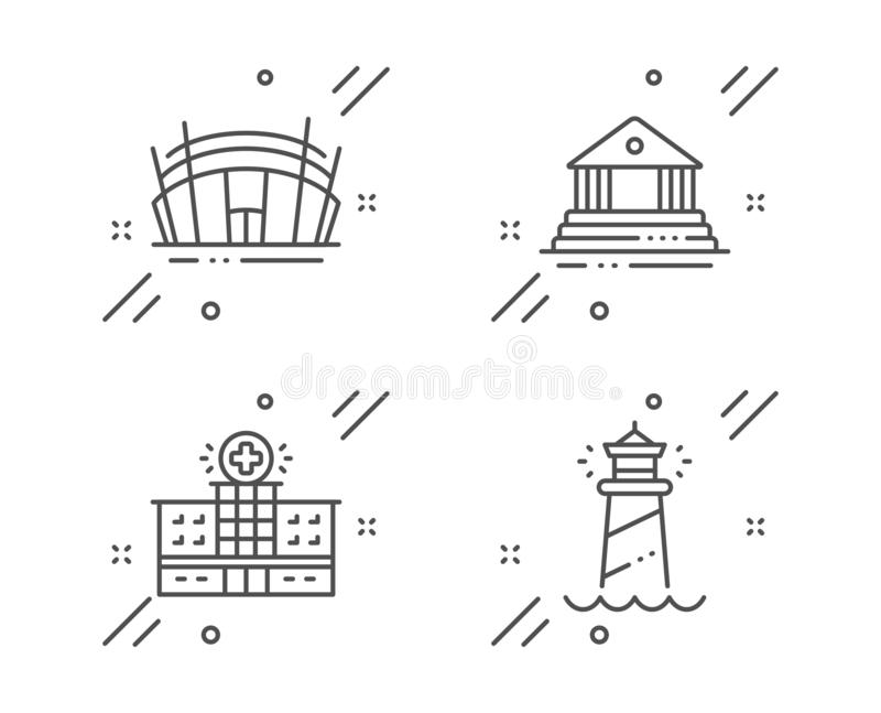 Hospital Building, Court Building And Arena Stadium Icons