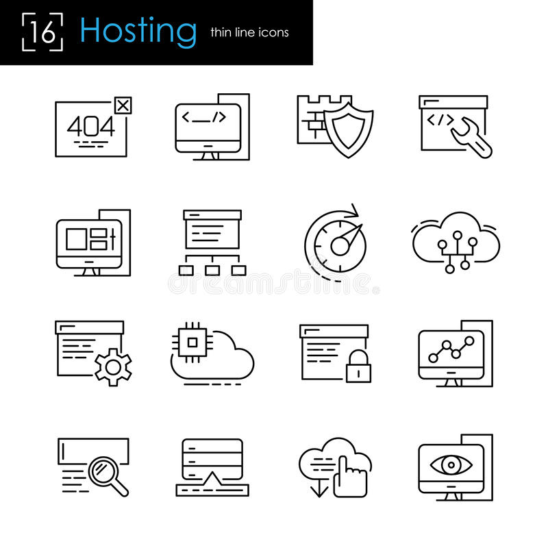 Hosting Icon Set stock vector. Illustration of hosting