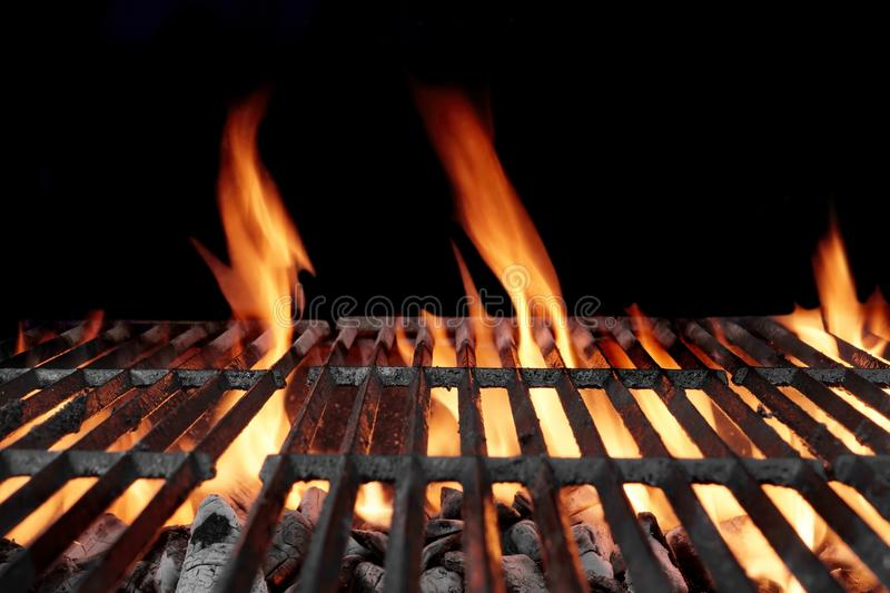 Hot Empty Charcoal Bbq Grill With Bright Flames Stock