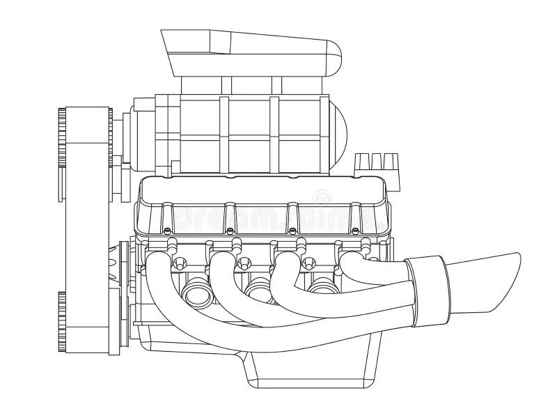 Hot Rod Engine stock vector. Illustration of design