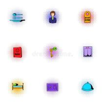 Hotel Accommodation Icons Set Pop-art Style Stock Vector