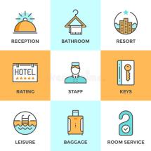 Hotel Accommodation Services Line Icons Set Stock Vector