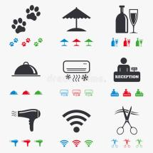 Hotel Apartment Services Icons. Wifi Sign Stock Vector