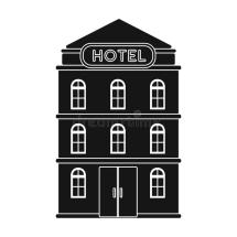 Hotel Building Icon In Black Style Isolated White