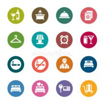 Hotel Color Icons Stock Illustration. Of Graphic