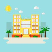 Hotel Icon City Landscape. Stock Vector - Illustration