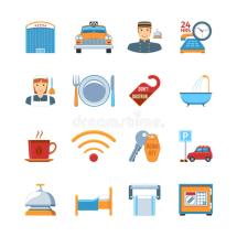 Hotel Service Design Stock Vector. Illustration Of Objects