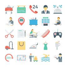 Hotel Services Vector Icons 3 Stock Illustration