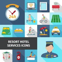 Hotel Services Flat Icon Set Stock Vector - Illustration