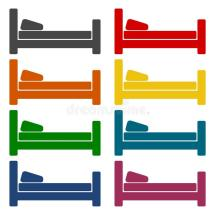 Hotel Symbol Hospital Bed Icons Set Stock Vector