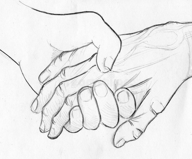 Pencil Drawings Of People Holding Hands Holding Elderly