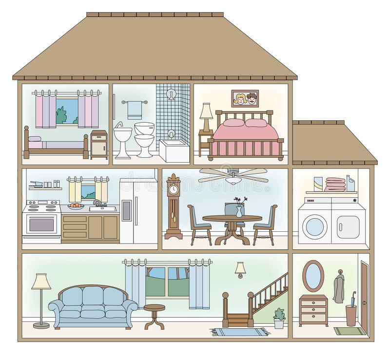 House Cross Section Stock Vector Illustration Of Table