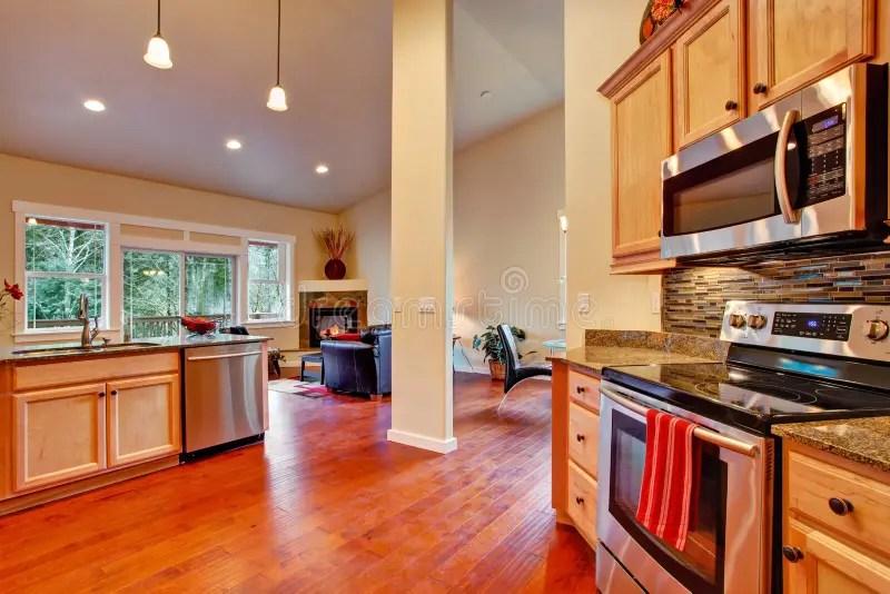 House Interior Open Floor Plan. Kitchen Area Stock Photo