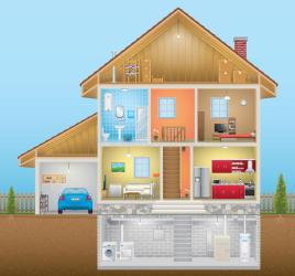 interior vector illustration basement attic garage build