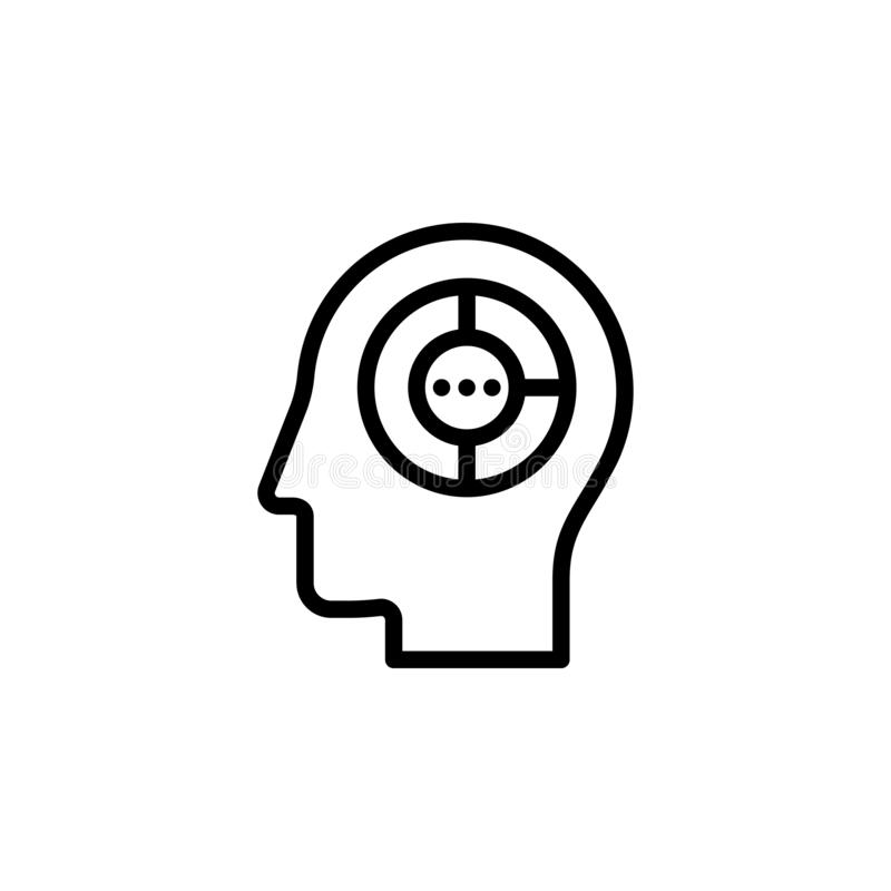 Analytical Thinking Icon, Flat Thin Line Vector