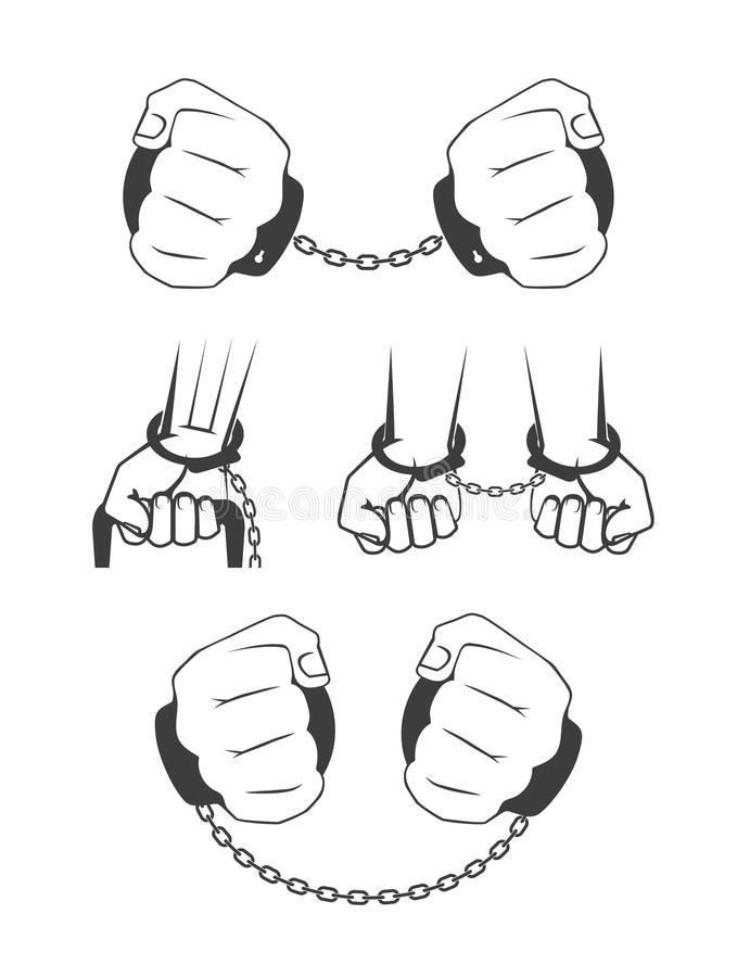 Hands In Handcuffs: A Man Breaking A Chain Stock Vector
