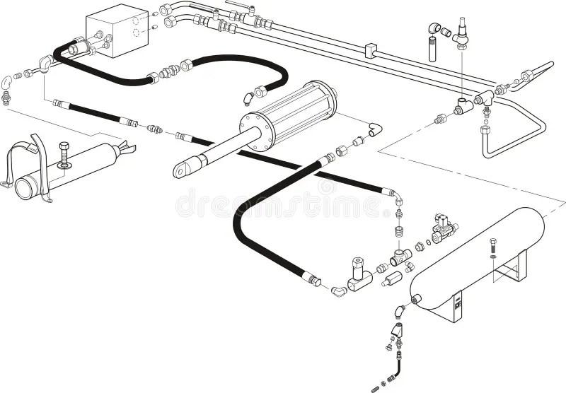 Hydraulic System Illustration Stock Illustration