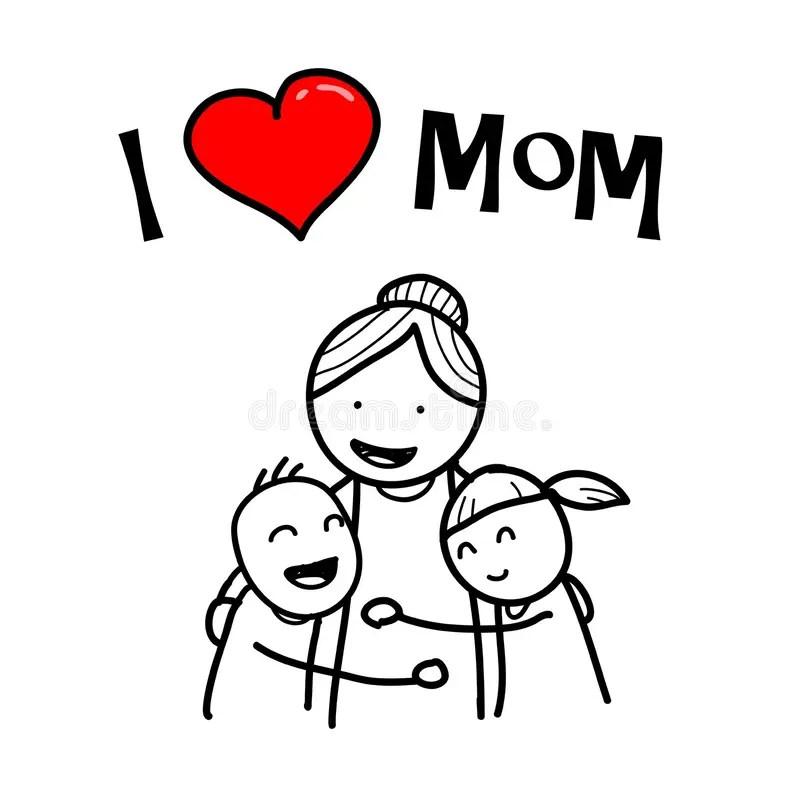 Download I Love Mom stock vector. Illustration of their, cartoon ...