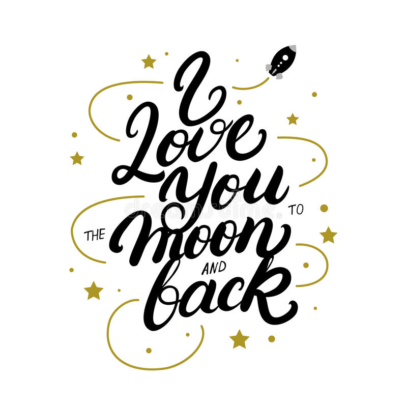 Download I Love You To The Moon And Back Hand Written Lettering ...