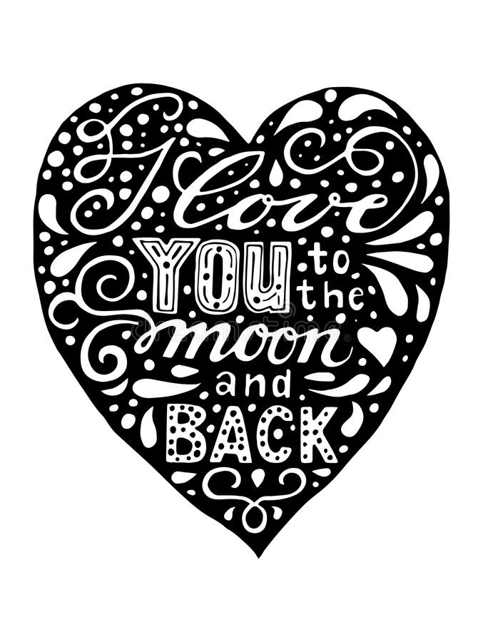 Download I Love You To The Moon And Back. Isolated Hand Drawn Black ...