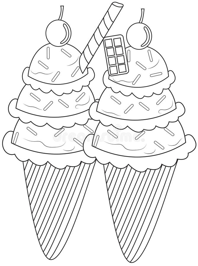 Ice cream coloring page stock illustration. Image of