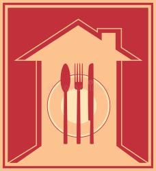 icon utensil silhouette restaurant democratic badge trees rainbow two