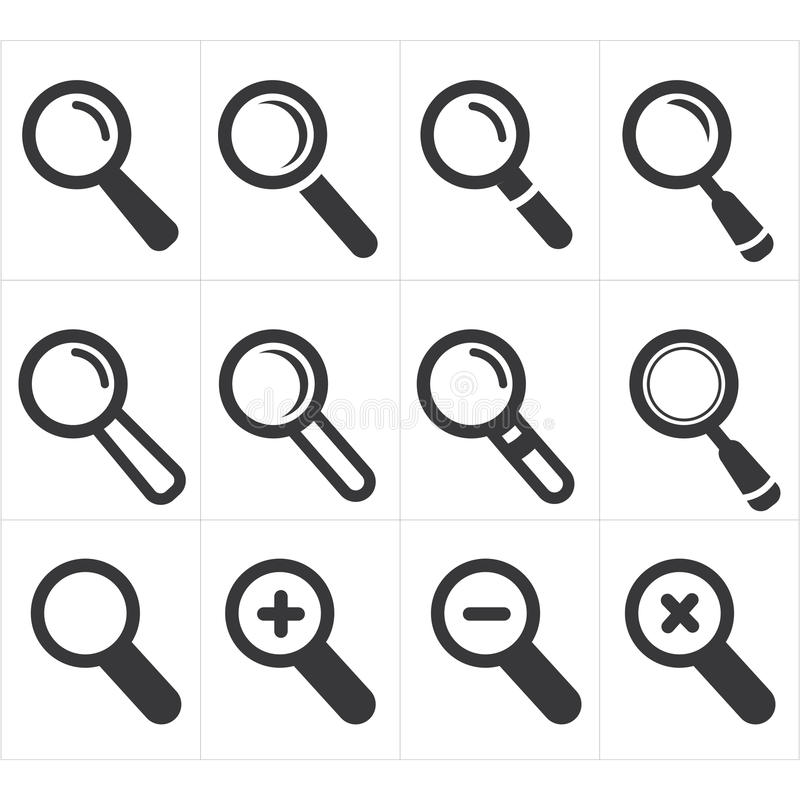 Icon search and magnifier stock vector. Illustration of