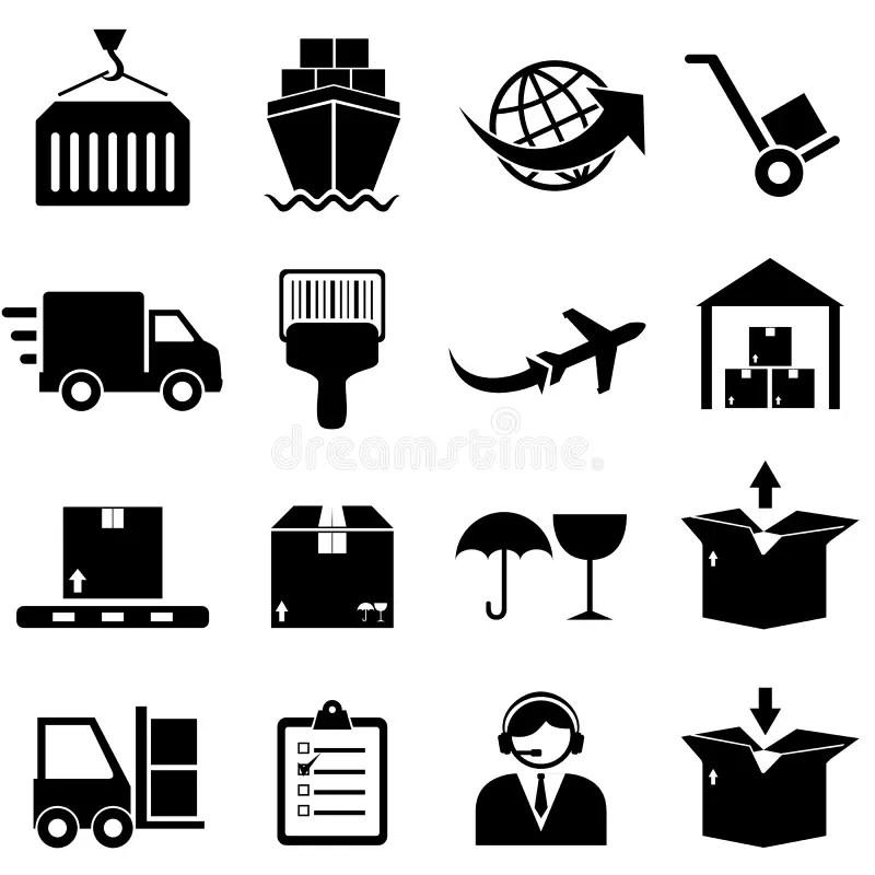Icone Di Trasporto E Del Carico Illustrazione Vettoriale