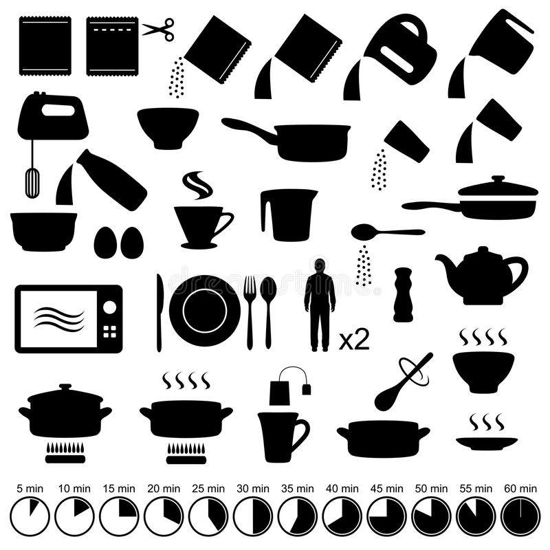 Icons cooking stock vector. Illustration of bowl, dinner