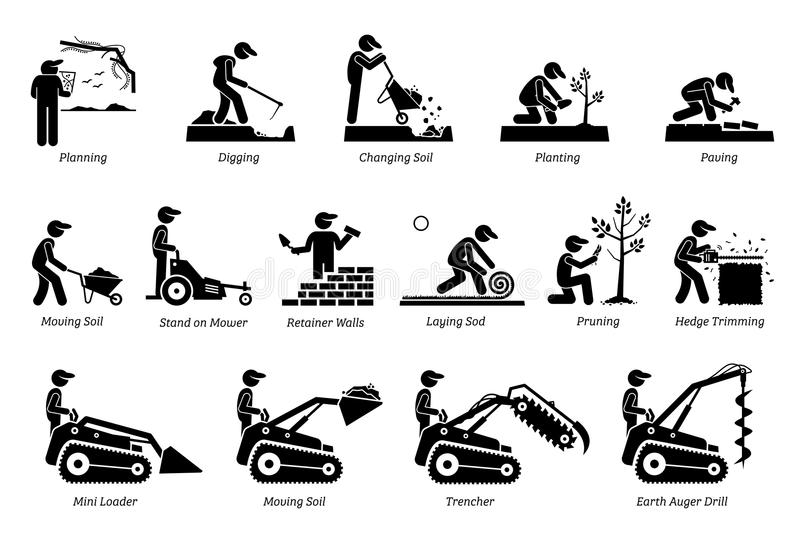 Landscaping And Horticulture Icons. Stock Vector