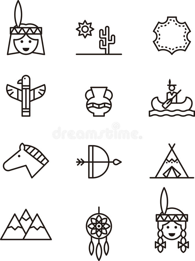 Native Americans icons stock vector. Illustration of