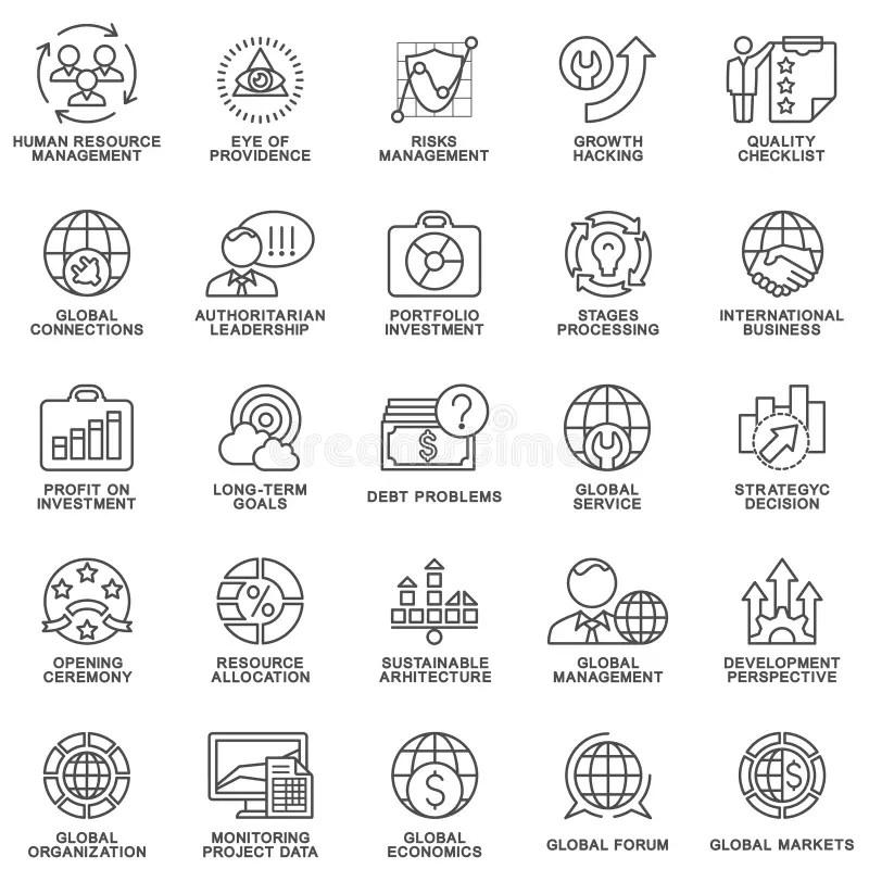 Icons Set Global Business, Economics And Marketing. Stock