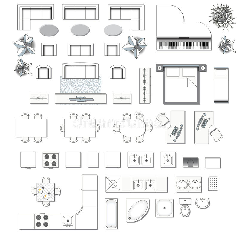 Icons set of interior stock vector. Illustration of desk