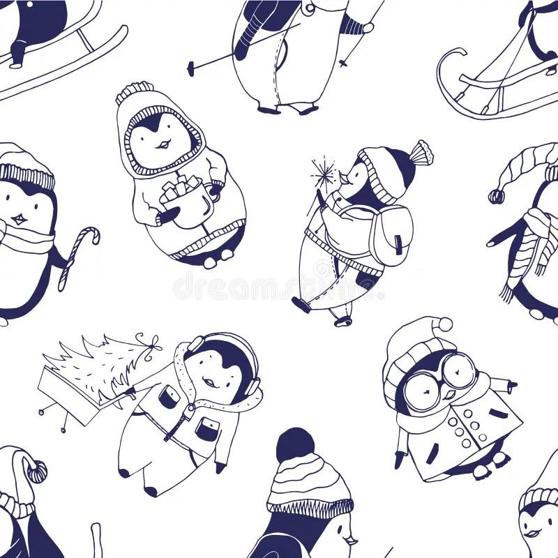 Pinguini Svegli Del Fumetto Sul Fondo Di Inverno Illustrazione Vettoriale  Illustrazione di