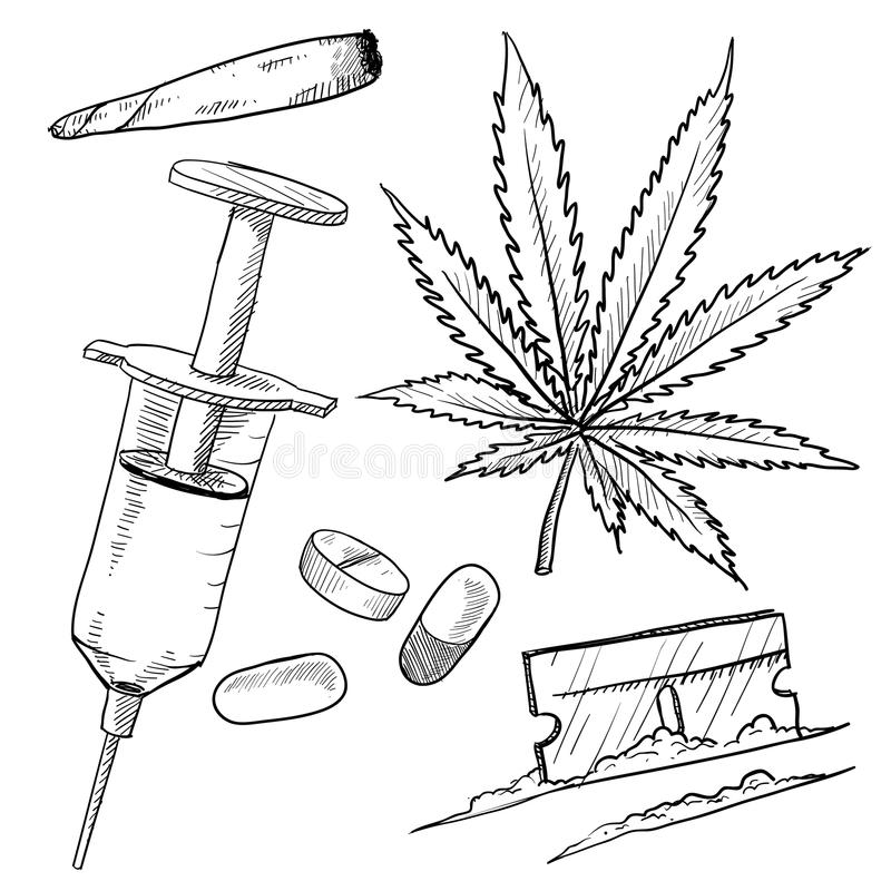 Illegal drugs drawing stock vector. Image of high, norml