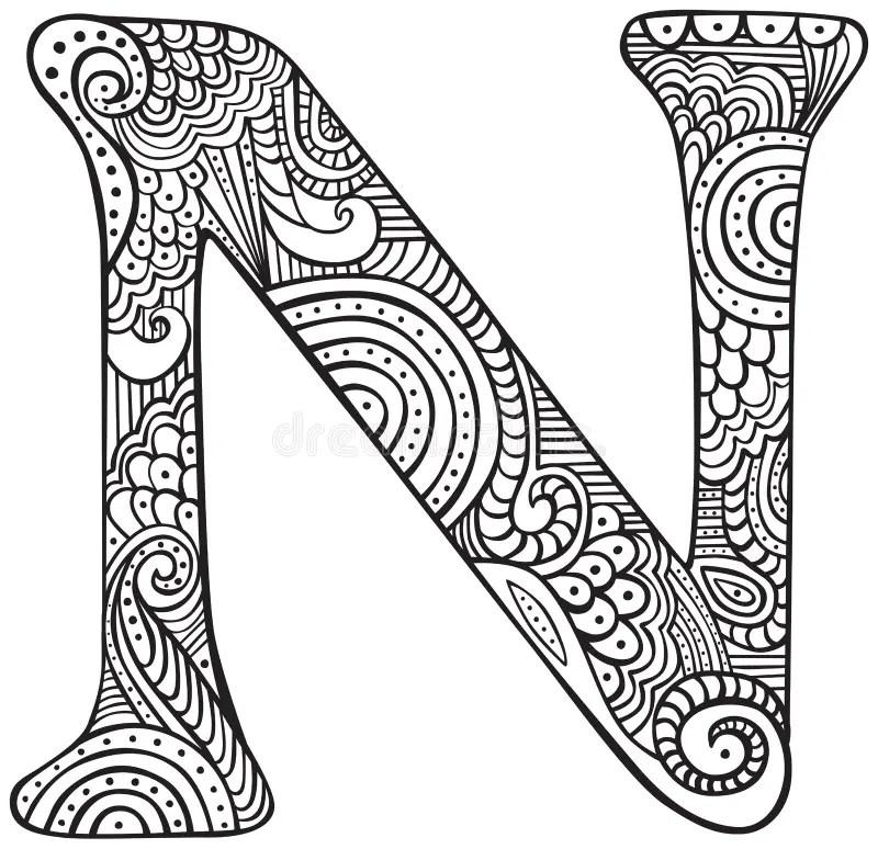 Illustrated letter N stock vector. Illustration of outline
