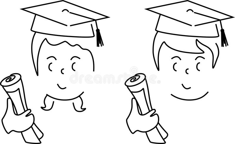 Boy and girl graduate stock vector. Illustration of