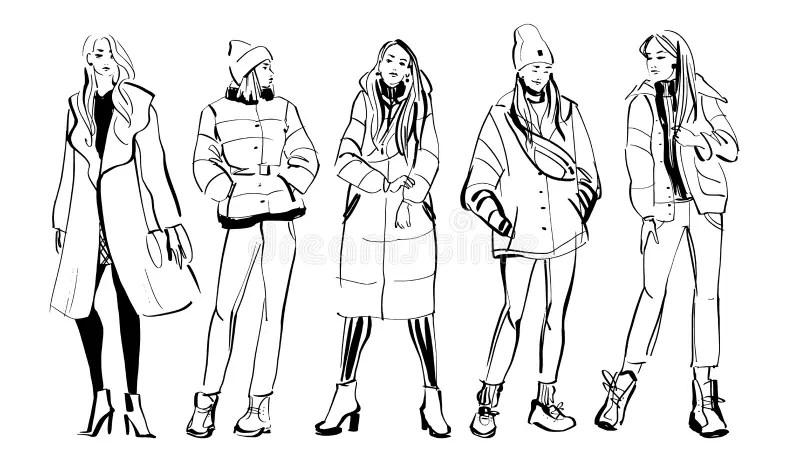 Fille De Mode Avec Le Cheveu D'automne Illustration de
