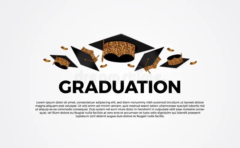 Graduate Caps And Gold Confetti On White Background