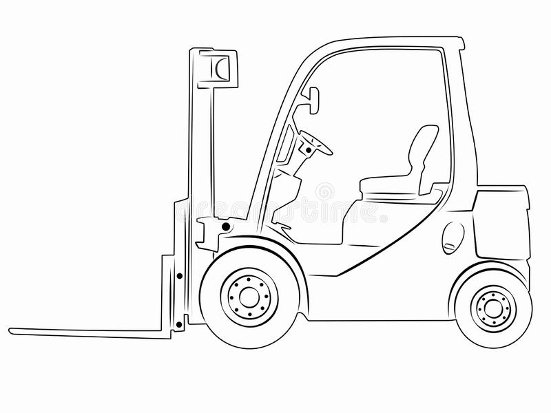 Forklift Drawing Stock Illustrations