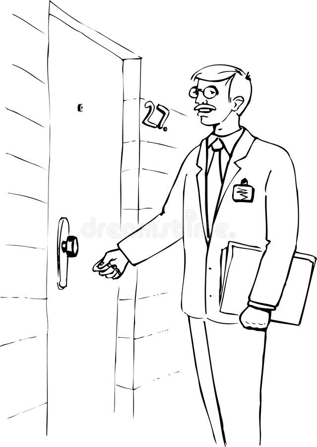 Illustration Of A Man Knocking At The Door Stock