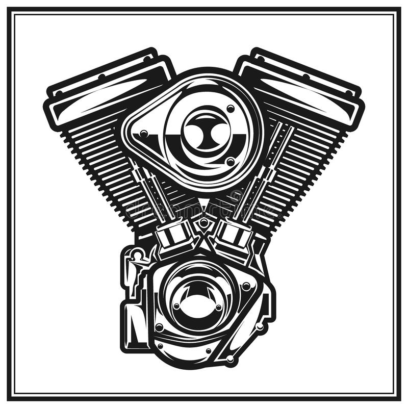 Illustration Of Motorcycle Engine. Stock Vector