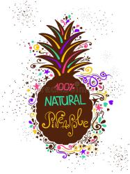 pineapple silhouette pattern lettering drawn hand cocktail fruit decoration pina colada