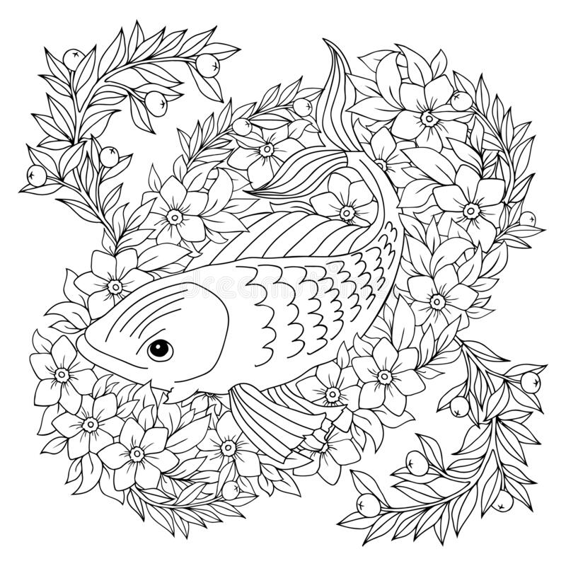 Fish-butterfly Coloring Pages Stock Illustration