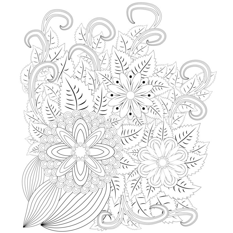 Illustration Zentangl. Flower Frame. Coloring Book