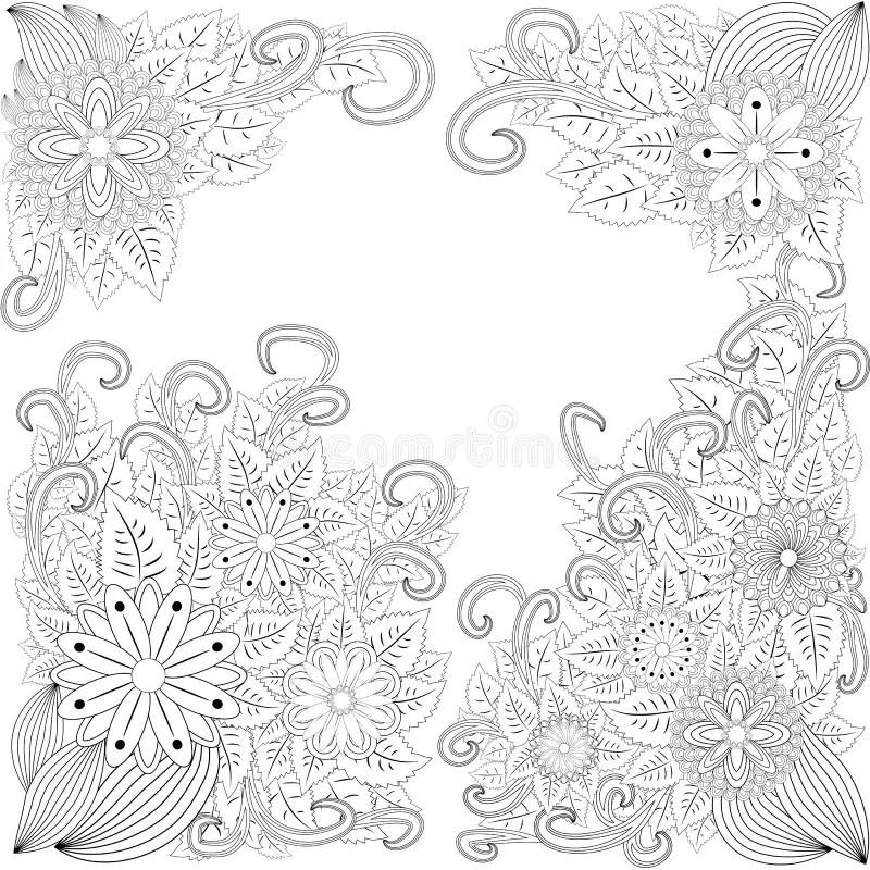 Illustration Zentangl. Flower Frame For Photo. Coloring