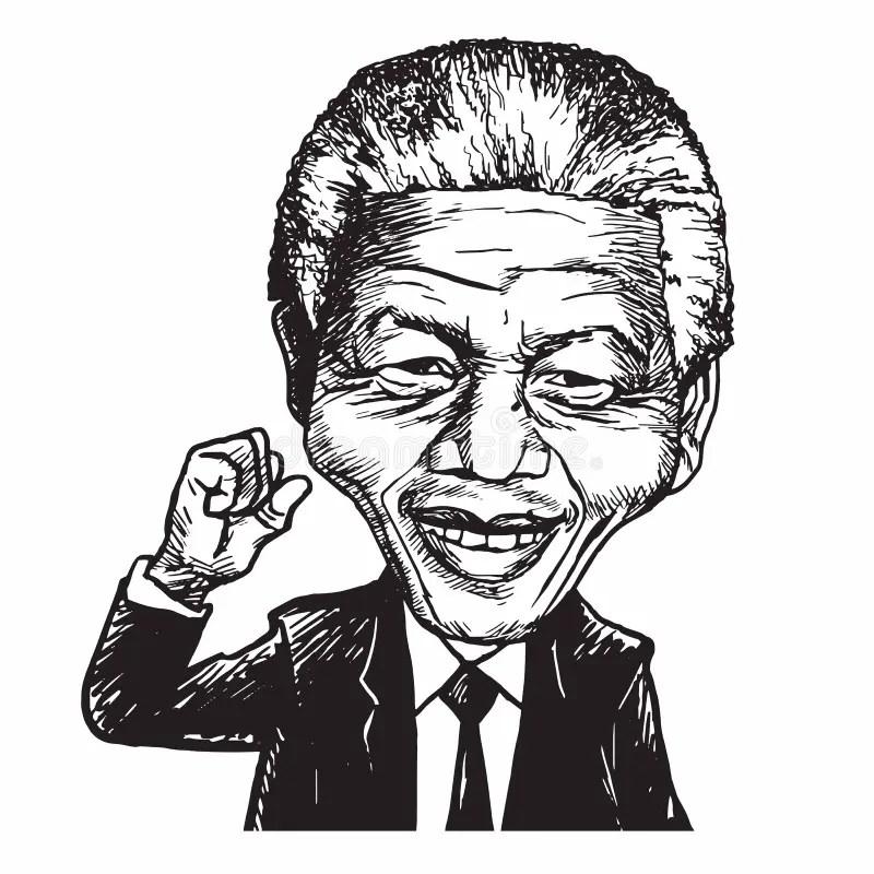 Ilustração De Nelson Mandela Cartoon Caricature Vetora