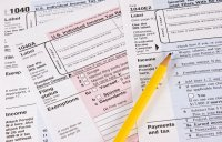 Income Tax Forms stock photo. Image of currency, deadline